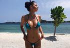 Helga Lovekaty w skąpym błękitnym bikini