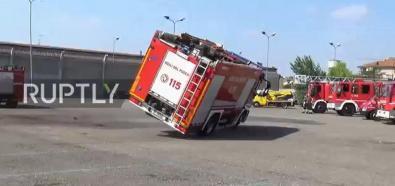 Wywrotka wozu strażackiego